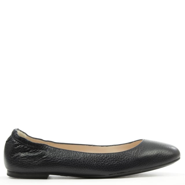 Classic Navy Leather Ballerina Flat