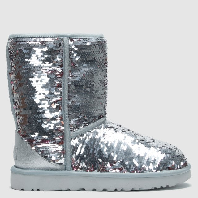 d591c4024da UGG Classic Short Silver Sequin Ankle Boots