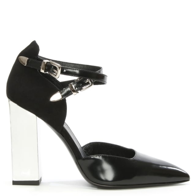 Claudia Black Leather Buckle Court Shoe