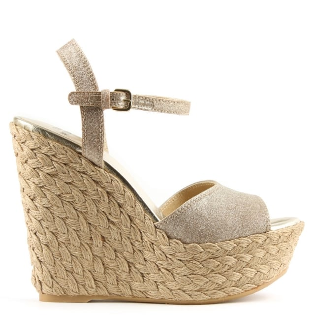 Clean Gold Glitter Jute Wedge Sandal