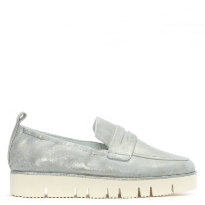 Cleasby Silver Metallic Suede Loafers