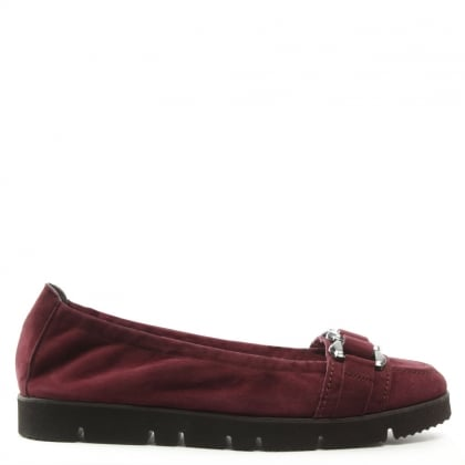 Cleated Burgundy Suede Loafer