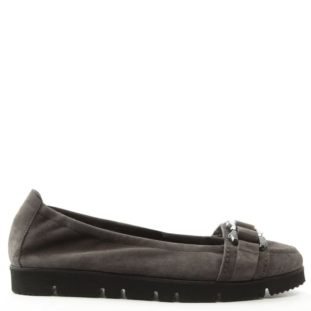 Cleated Grey Suede Loafer