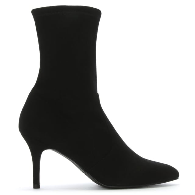 bee7d221bb1 Cling Black Suede Sock Ankle Boots