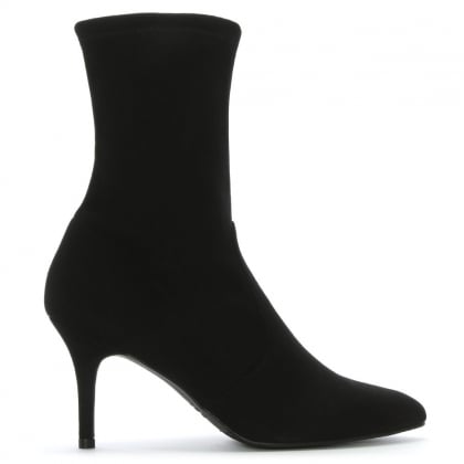 Cling Black Suede Sock Ankle Boots