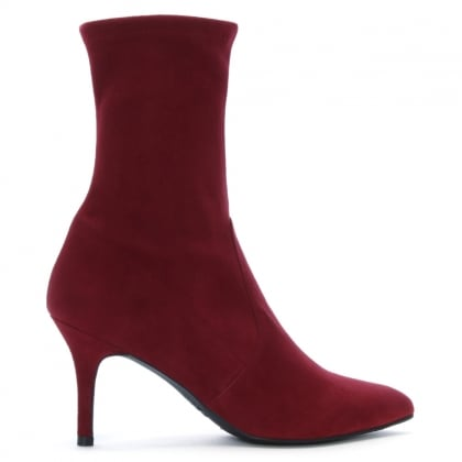 Cling Scarlet Dark Red Suede Sock Ankle Boots