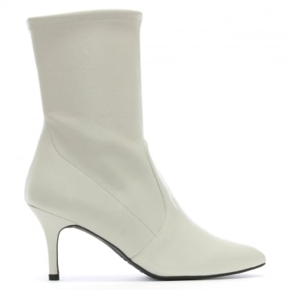 Cling White Leather Sock Ankle Boots