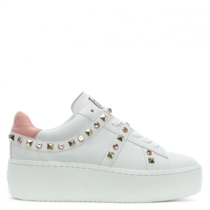 Clone Blush & White Leather Chunky Sneakers