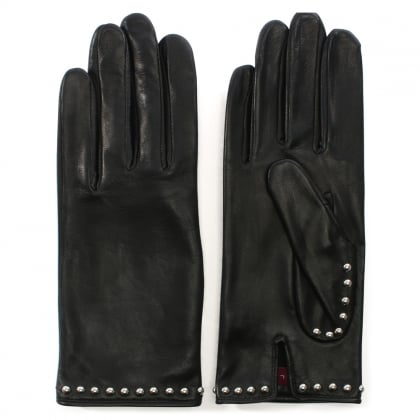 Clou Rock Black Leather Studded Gloves