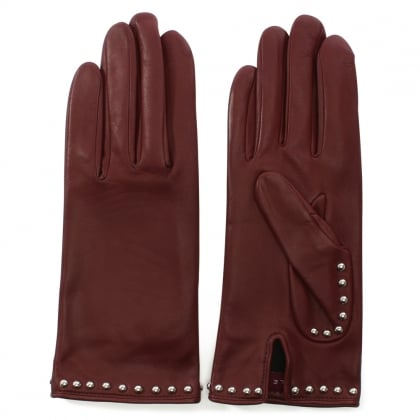 Clou Rock Burgundy Leather Studded Gloves