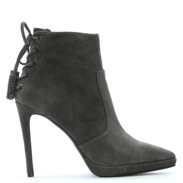 Lola Cruz Clouseau Grey Suede Lace Back Ankle Boots