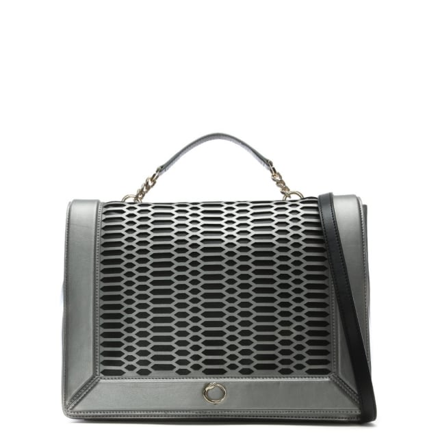 Club Silver Leather Day Bag