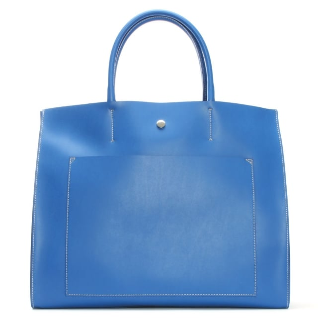 Coast Blue Leather Unlined Front Pocket Tote Bag