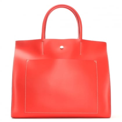 Coast Red Leather Unlined Front Pocket Tote Bag