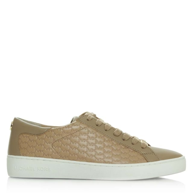 Colby Dark Khaki Leather Embossed Lace Up Trainer