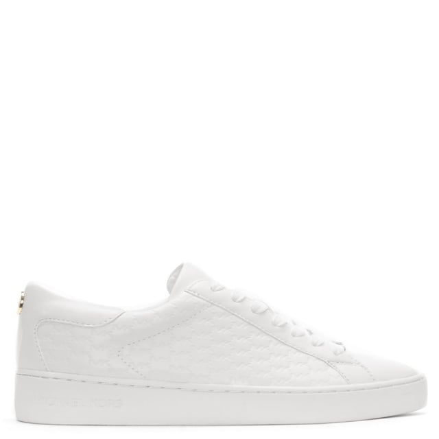 Colby White Leather Embossed Lace Up Trainers