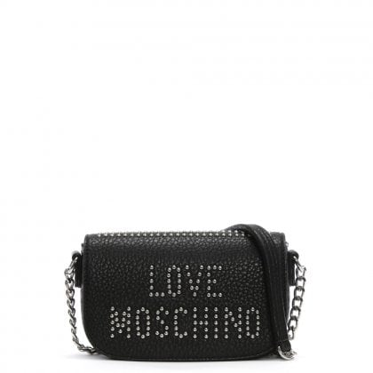 Collie Small Black Studded Logo Cross-Body Bag