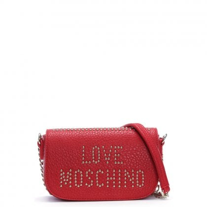 Collie Small Red Studded Logo Cross-Body Bag