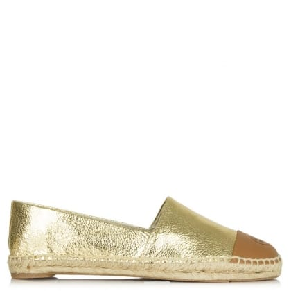 Tory Burch Colour Block Gold Cracked Leather Espadrille
