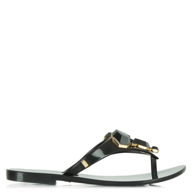 Colour Crystal Black Rubber Flip Flop