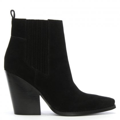 Colt Black Suede Western Ankle Boots