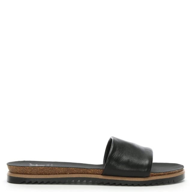 Colton Black Leather Chunky Strap Mule