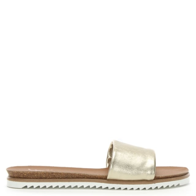 Colton Gold Metallic Leather Chunky Strap Mules