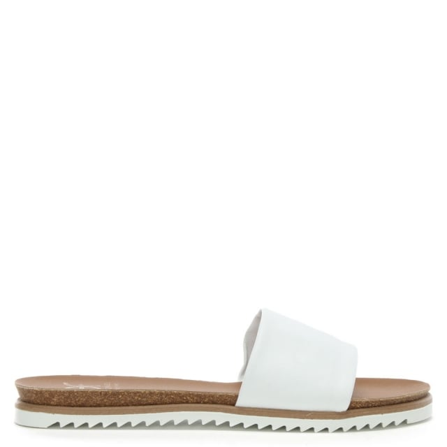 Colton White Leather Chunky Strap Mule