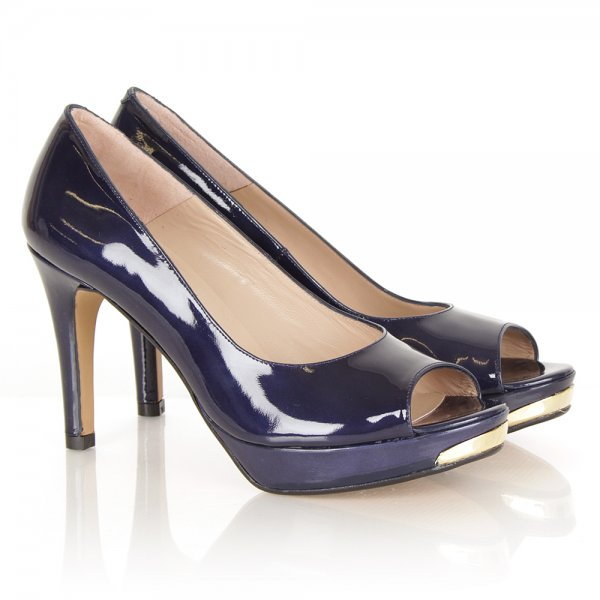 Comic Navy Patent Peep Toe Heeled Shoes