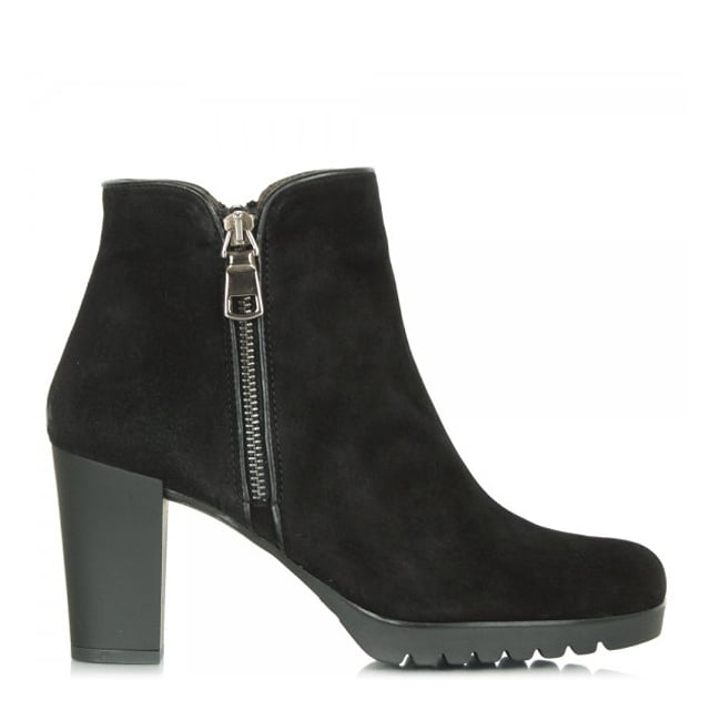 Commited Black Suede Rubber Heel Ankle Boot