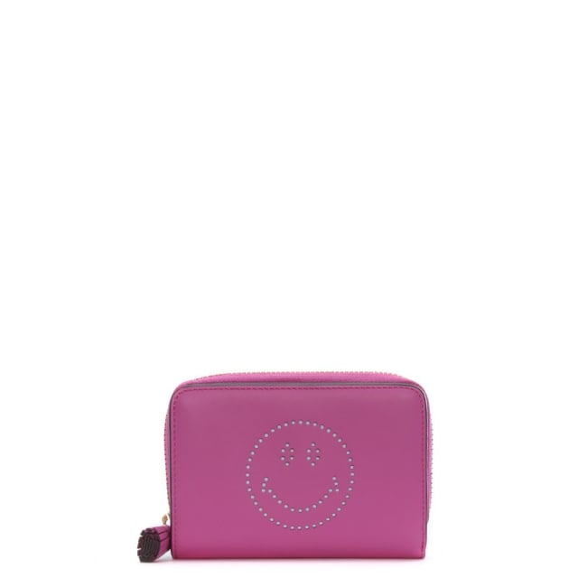 Anya Hindmarch Compact Smiley Bubblegum Circus Leather Zip Around Wallet