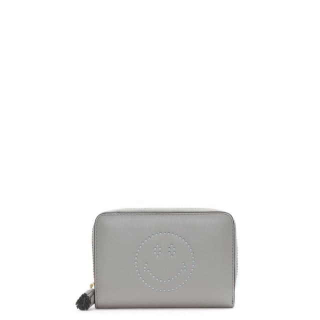 Anya Hindmarch Compact Smiley Steam Circus Leather Zip Around Wallet