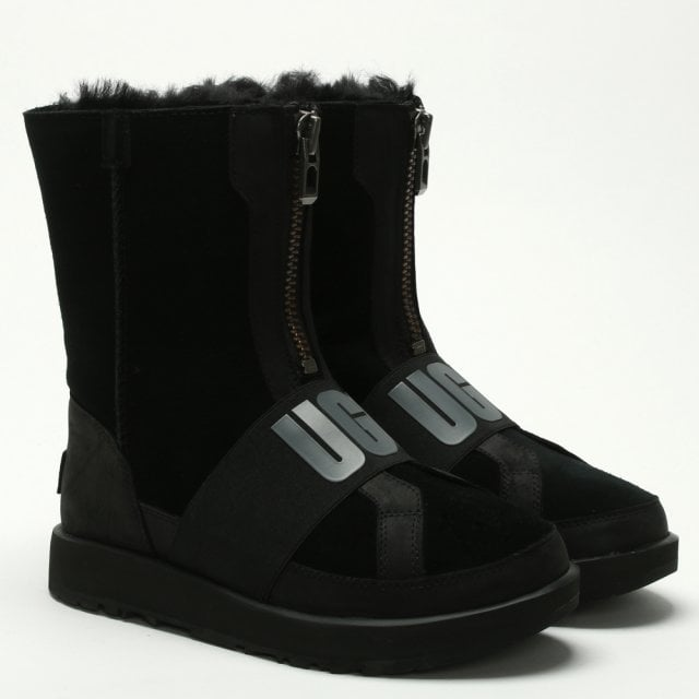 4c903851490 Conness Waterproof Black Suede Logo Ankle Boots
