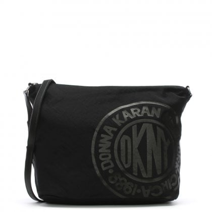 Connie Black Nylon Logo Messenger Bag