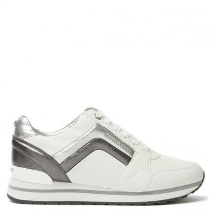 Conrad White Leather Metallic Detail Trainer