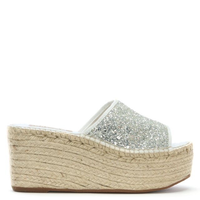 Cooktown White Glitter Espadrille Mules