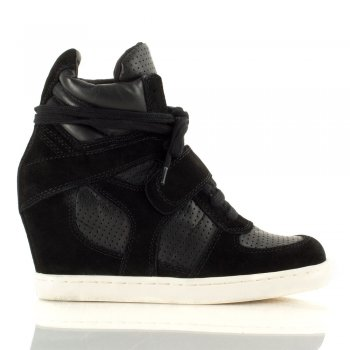 COOLBIS Black Suede Womens Wedge Trainer