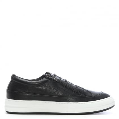 Corbridge Black Leather Double Zip Trainers