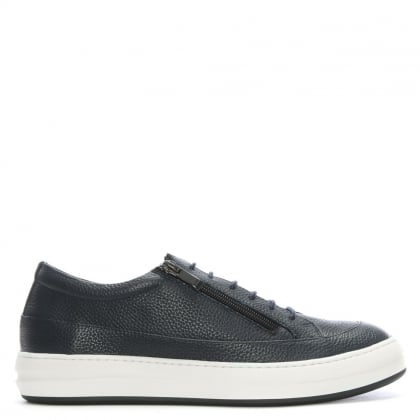 Corbridge Navy Leather Double Zip Trainers