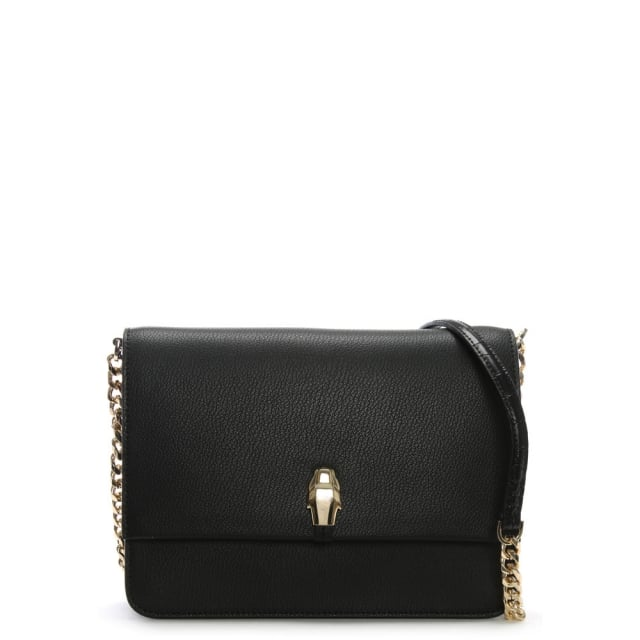 Cavalli Class Corinne Black Leather Shoulder Bag