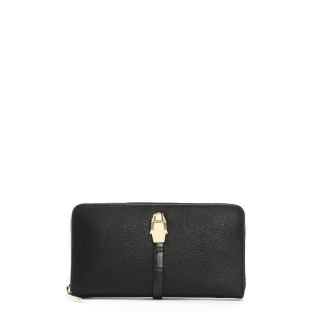 Corinne Black Leather Zip Around Panther Head Purse