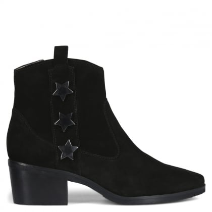 Corinne Black Suede Star Ankle Boots