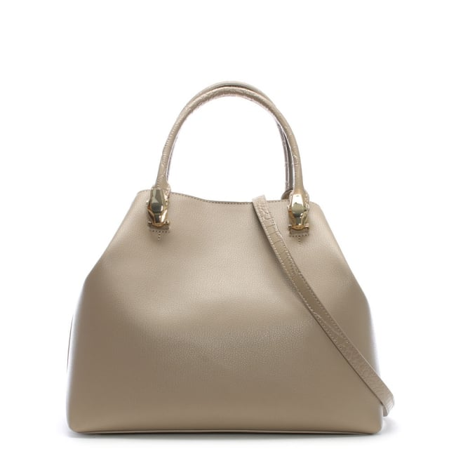 Cavalli Class Corinne Taupe Leather Hobo Bag