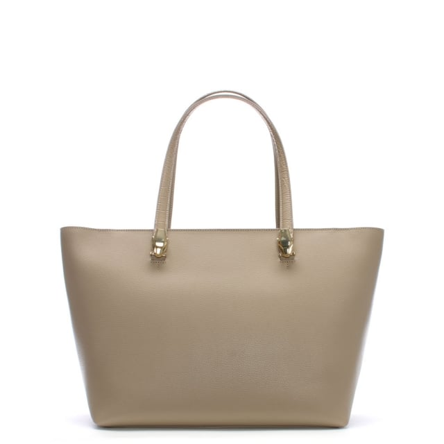 Cavalli Class Corinne Taupe Leather Shopper Bag