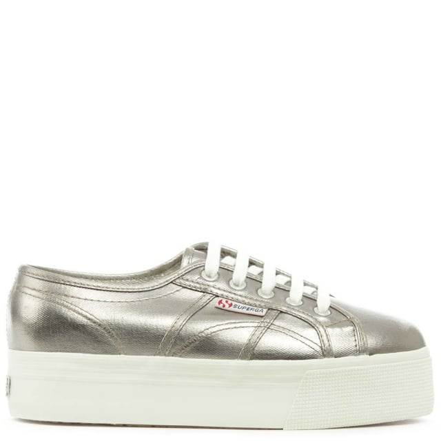 Cotmetu 2790 Grey Metallic Flatform Trainer