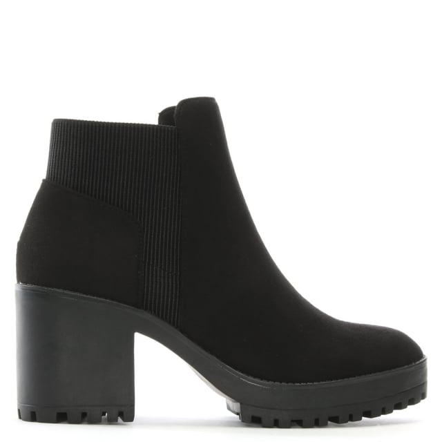 DF By Daniel Cotting Black Suedette Platform Ankle Boots