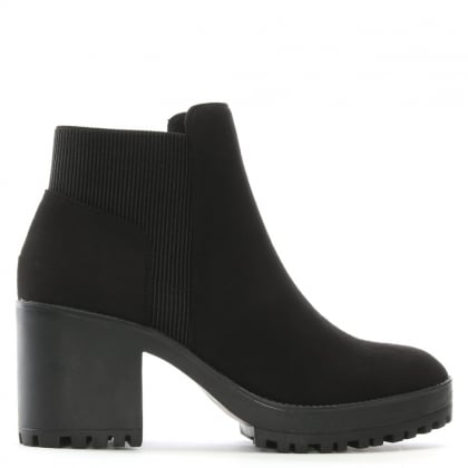 Cotting Black Suedette Platform Ankle Boots