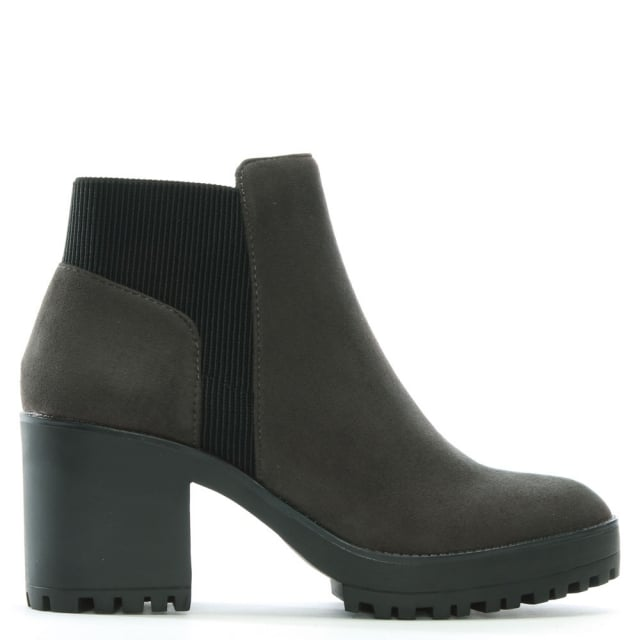 Cotting Grey Suedette Platform Ankle Boots