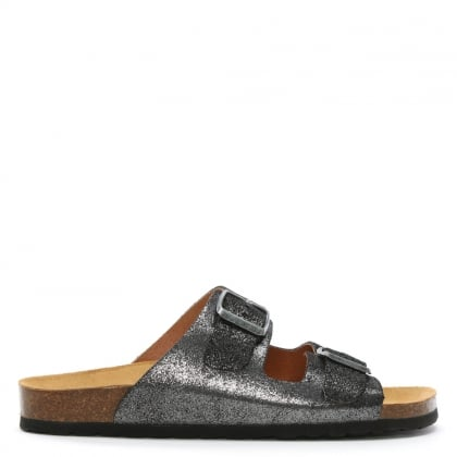 Coyle Black Metallic Leather Two Bar Mules