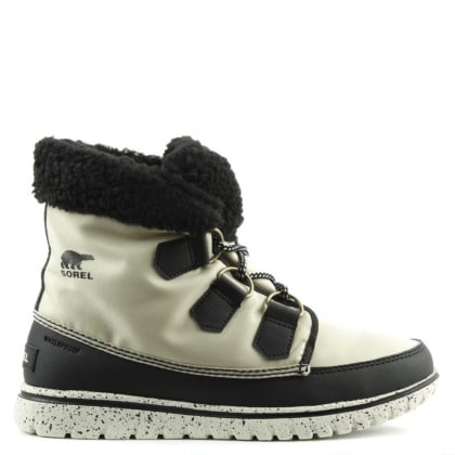 Cozy Carnival Beige Lace Up Sporty Fleece Lined Boot